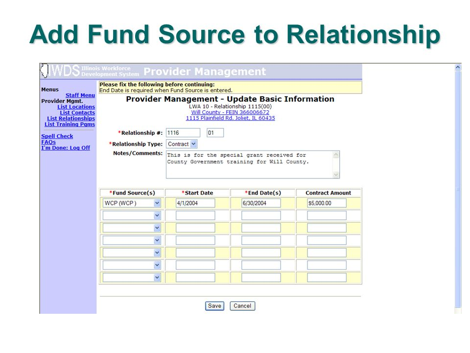 Add Fund Source to Relationship