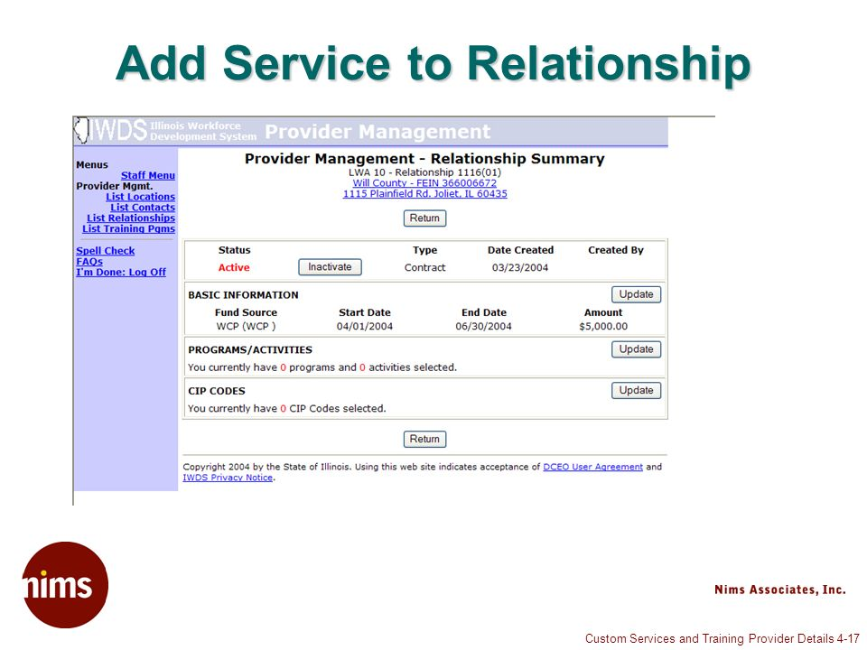 Custom Services and Training Provider Details 4-17 Add Service to Relationship