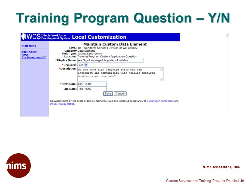 Custom Services and Training Provider Details 4-40 Training Program Question – Y/N