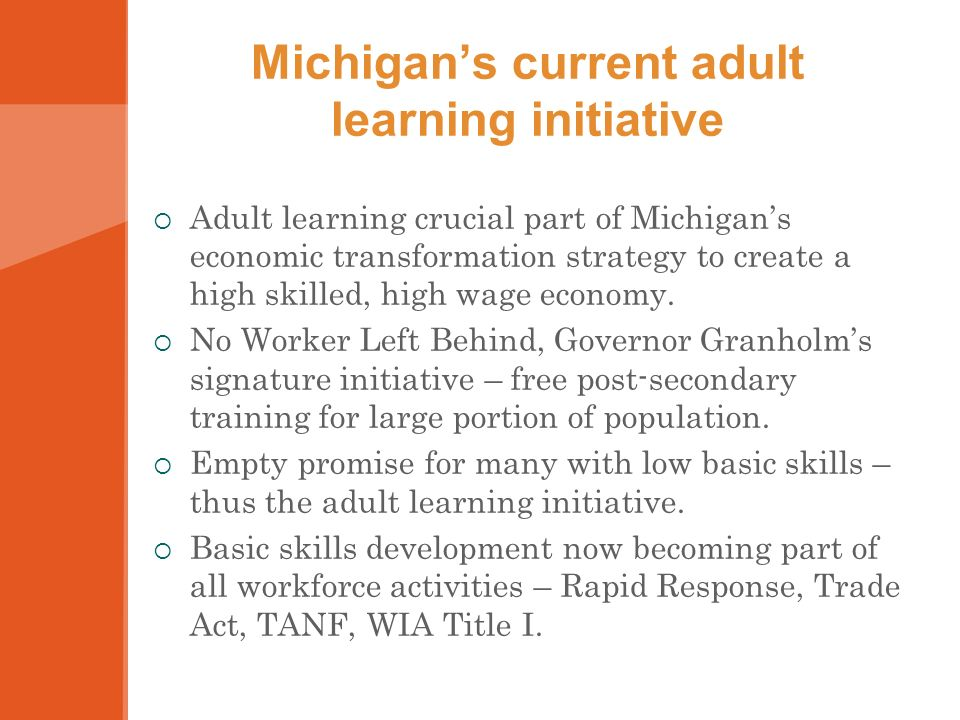 Michigans current adult learning initiative Adult learning crucial part of Michigans economic transformation strategy to create a high skilled, high wage economy.