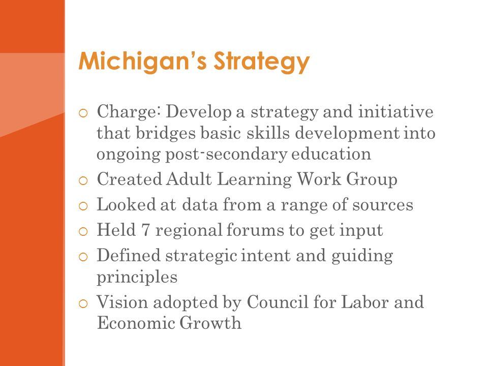 Michigans Strategy Charge: Develop a strategy and initiative that bridges basic skills development into ongoing post-secondary education Created Adult Learning Work Group Looked at data from a range of sources Held 7 regional forums to get input Defined strategic intent and guiding principles Vision adopted by Council for Labor and Economic Growth