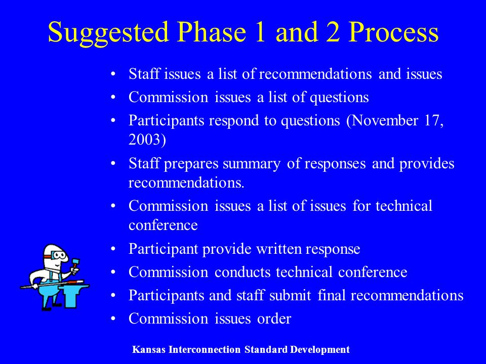 Kansas Interconnection Standard Development Suggested Phase 1 and 2 Process Staff issues a list of recommendations and issues Commission issues a list of questions Participants respond to questions (November 17, 2003) Staff prepares summary of responses and provides recommendations.