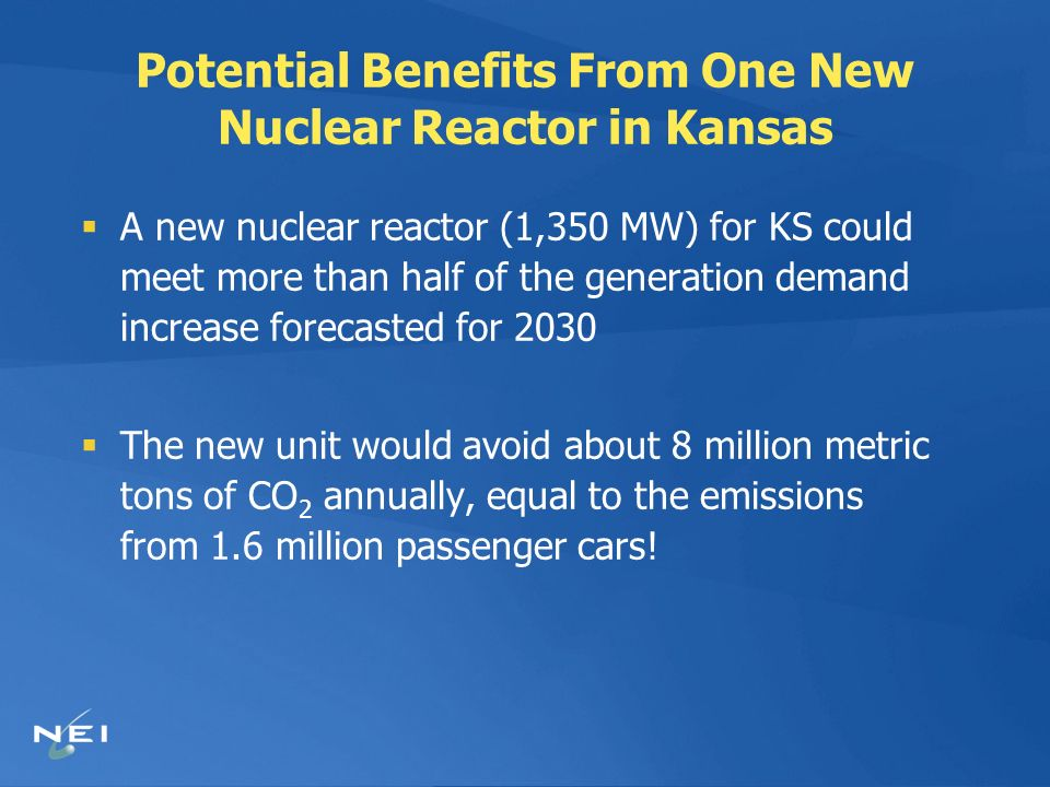 Potential Benefits From One New Nuclear Reactor in Kansas A new nuclear reactor (1,350 MW) for KS could meet more than half of the generation demand increase forecasted for 2030 The new unit would avoid about 8 million metric tons of CO 2 annually, equal to the emissions from 1.6 million passenger cars!