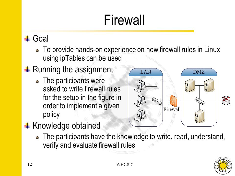 12 WECS 7 Firewall Goal To provide hands-on experience on how firewall rules in Linux using ipTables can be used Running the assignment The participants were asked to write firewall rules for the setup in the figure in order to implement a given policy Knowledge obtained The participants have the knowledge to write, read, understand, verify and evaluate firewall rules