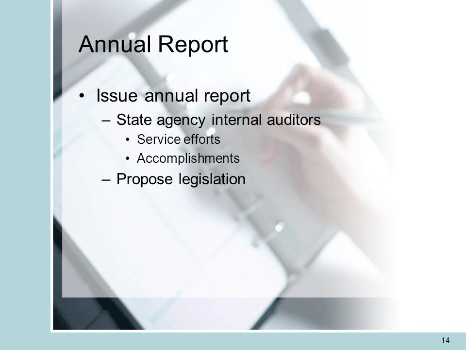 14 Annual Report Issue annual report –State agency internal auditors Service efforts Accomplishments –Propose legislation