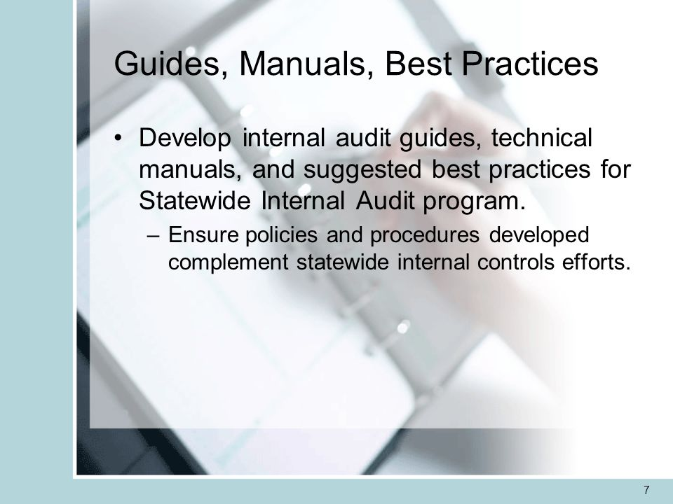 7 Guides, Manuals, Best Practices Develop internal audit guides, technical manuals, and suggested best practices for Statewide Internal Audit program.
