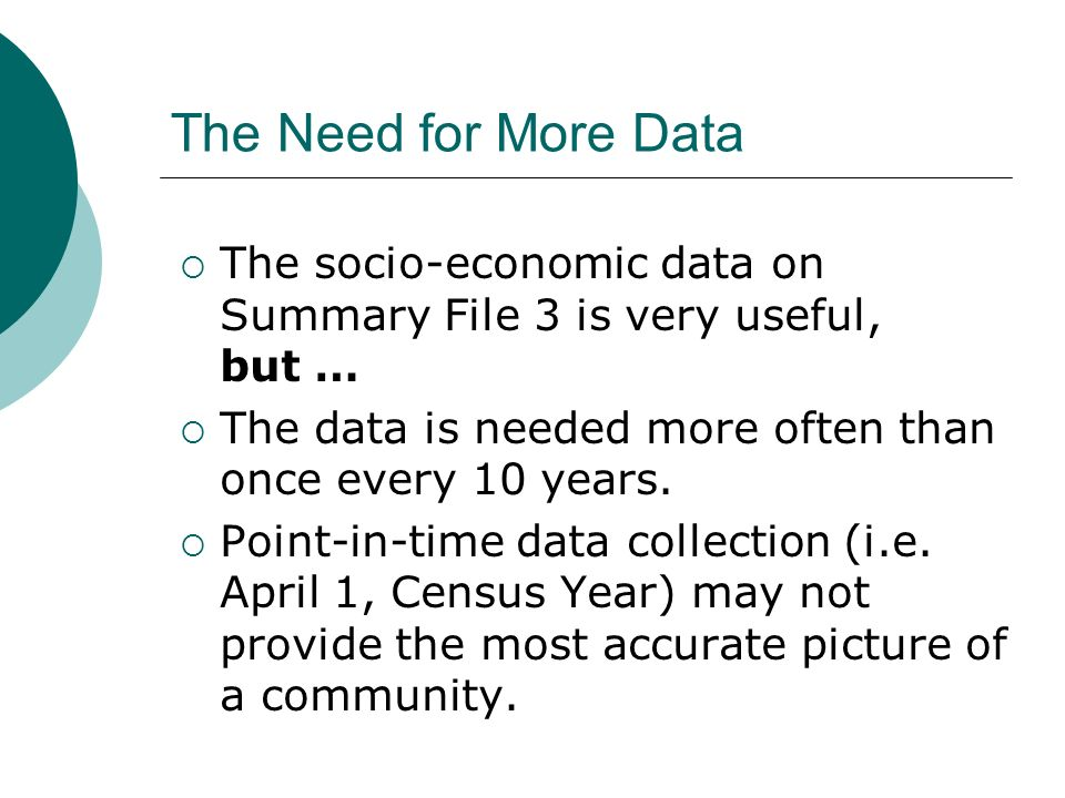 The Need for More Data The socio-economic data on Summary File 3 is very useful, but … The data is needed more often than once every 10 years.