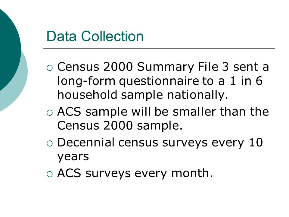 Data Collection Census 2000 Summary File 3 sent a long-form questionnaire to a 1 in 6 household sample nationally.