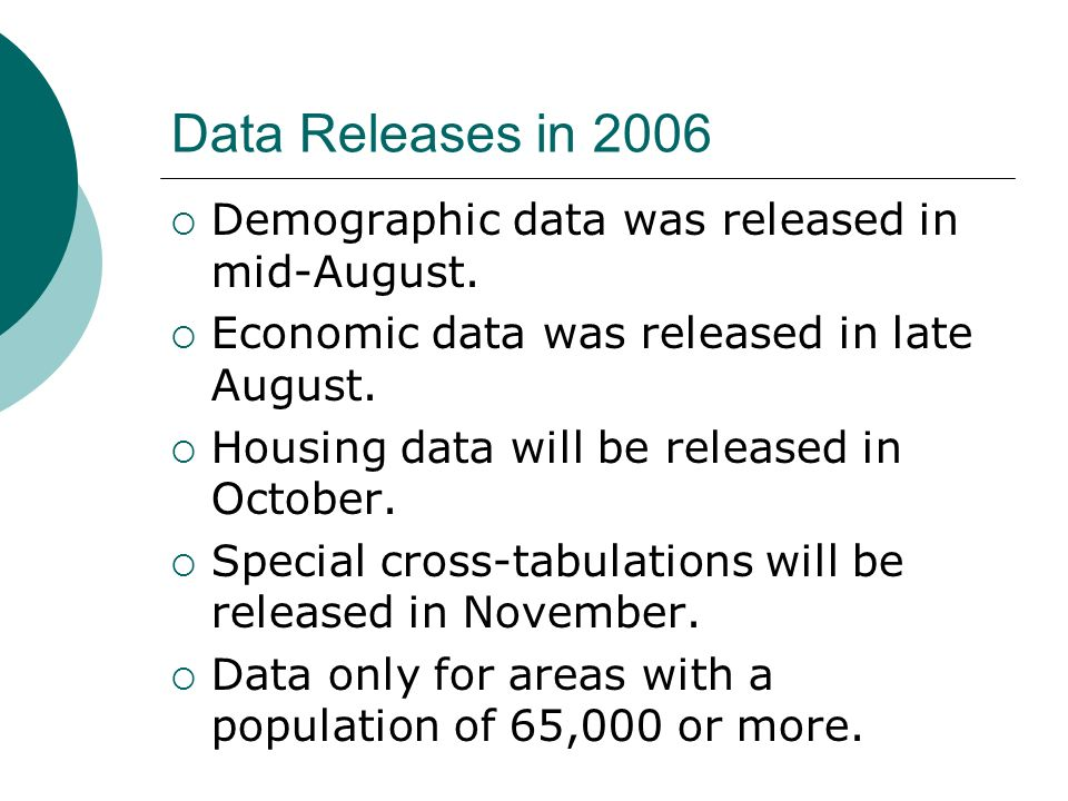 Data Releases in 2006 Demographic data was released in mid-August.