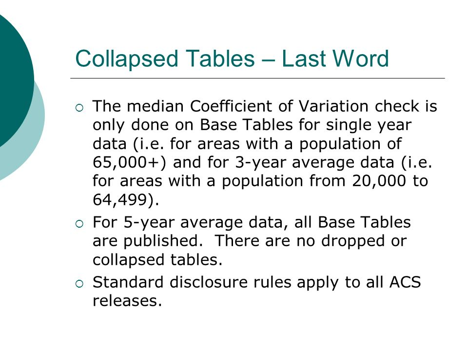 Collapsed Tables – Last Word The median Coefficient of Variation check is only done on Base Tables for single year data (i.e.