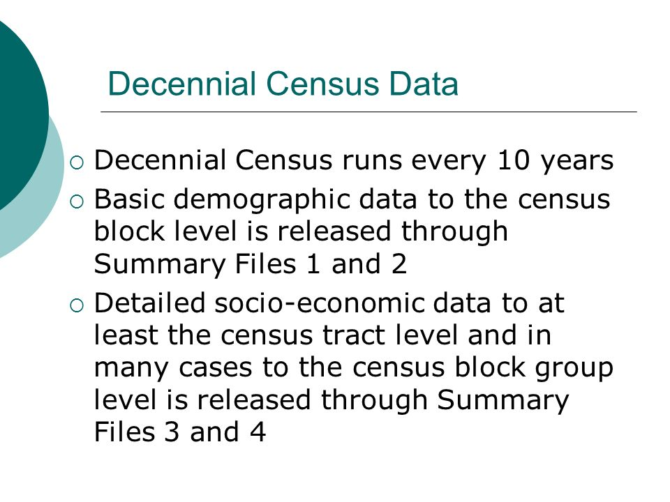 Decennial Census Data Decennial Census runs every 10 years Basic demographic data to the census block level is released through Summary Files 1 and 2 Detailed socio-economic data to at least the census tract level and in many cases to the census block group level is released through Summary Files 3 and 4
