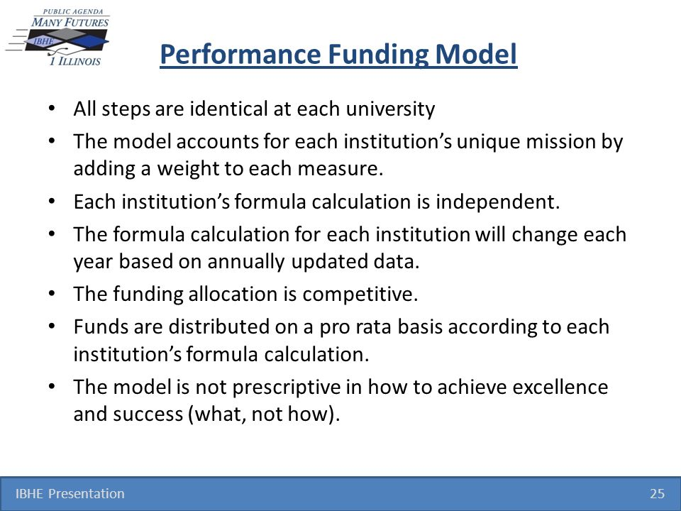 Performance Funding Model All steps are identical at each university The model accounts for each institutions unique mission by adding a weight to each measure.