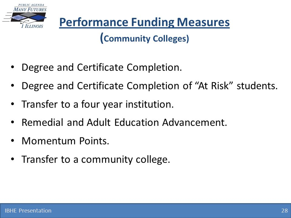 IBHE Presentation 28 Performance Funding Measures ( Community Colleges) Degree and Certificate Completion.