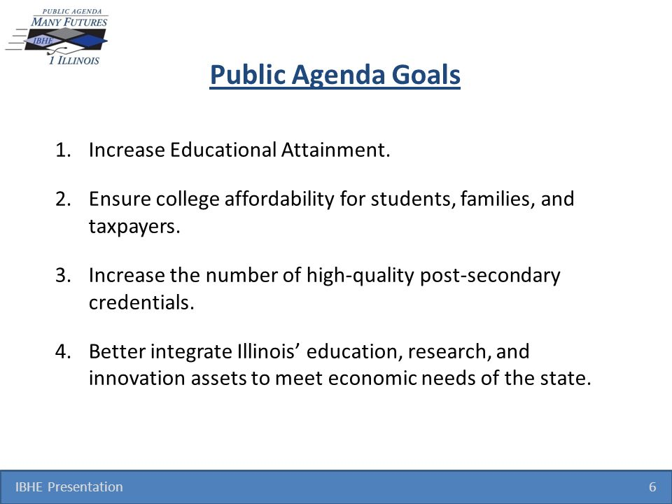 Public Agenda Goals 1.Increase Educational Attainment.