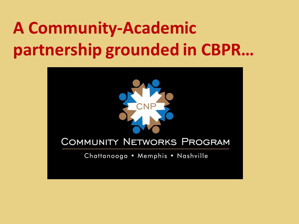 A Community-Academic partnership grounded in CBPR…