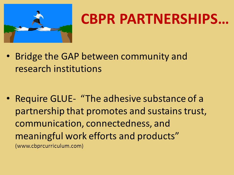 CBPR PARTNERSHIPS… Bridge the GAP between community and research institutions Require GLUE- The adhesive substance of a partnership that promotes and sustains trust, communication, connectedness, and meaningful work efforts and products (www.cbprcurriculum.com)