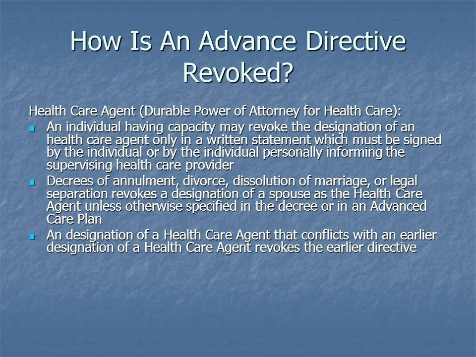 How Is An Advance Directive Revoked.