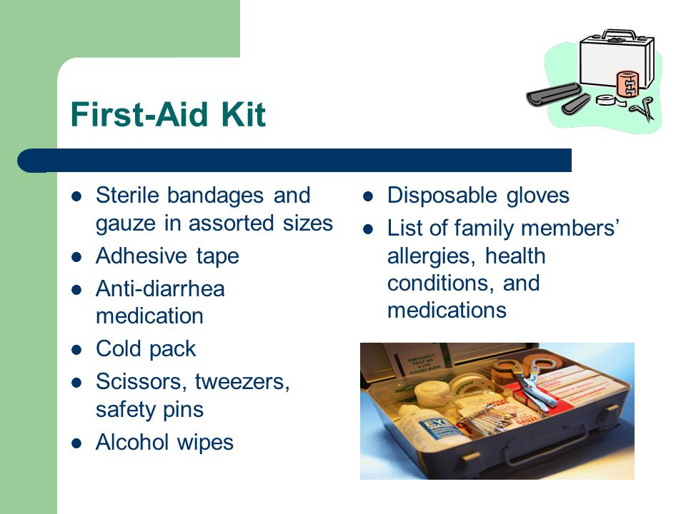 First-Aid Kit Sterile bandages and gauze in assorted sizes Adhesive tape Anti-diarrhea medication Cold pack Scissors, tweezers, safety pins Alcohol wipes Disposable gloves List of family members allergies, health conditions, and medications