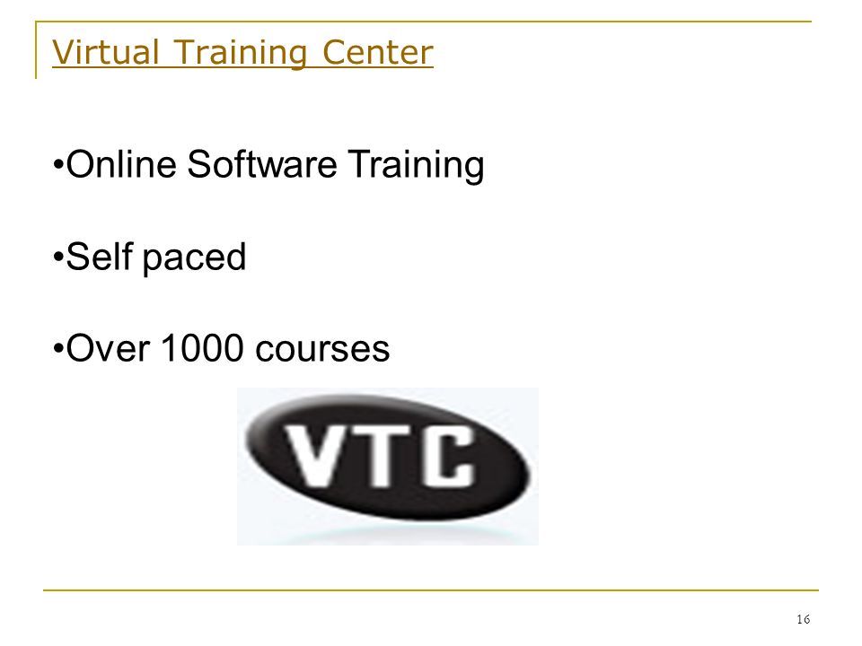 Virtual Training Center 16 Online Software Training Self paced Over 1000 courses