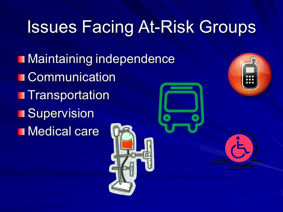 Issues Facing At-Risk Groups Maintaining independence CommunicationTransportationSupervision Medical care