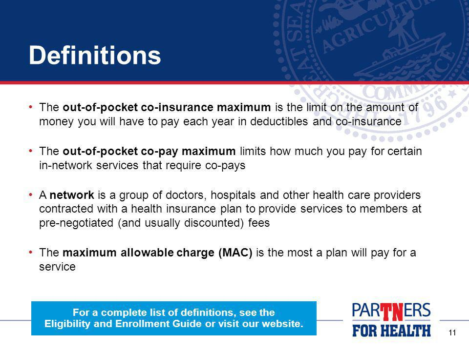 10 Definitions Premiums are the amount you pay each month for your coverage regardless of whether or not you receive health services A co-pay is a flat dollar amount you pay for services and products, like office visits and prescriptions A deductible is a set dollar amount that you pay out-of-pocket each year for services that require co-insurance Co-insurance is a form of payment where you pay a percentage of the cost for a service, after meeting your deductible