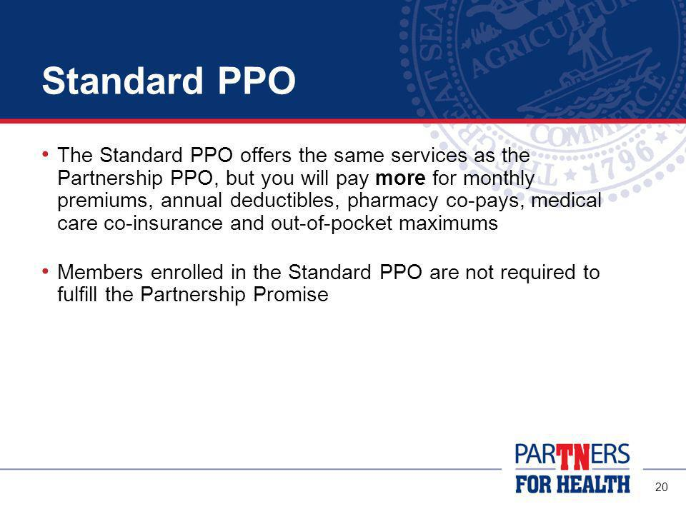19 If You Cover Your Spouse Same PPO Option Your spouse must also commit to the Partnership Promise Exception: If you and your spouse both work for a Participating Employer you can choose different options Partnership Promise is not required for covered children
