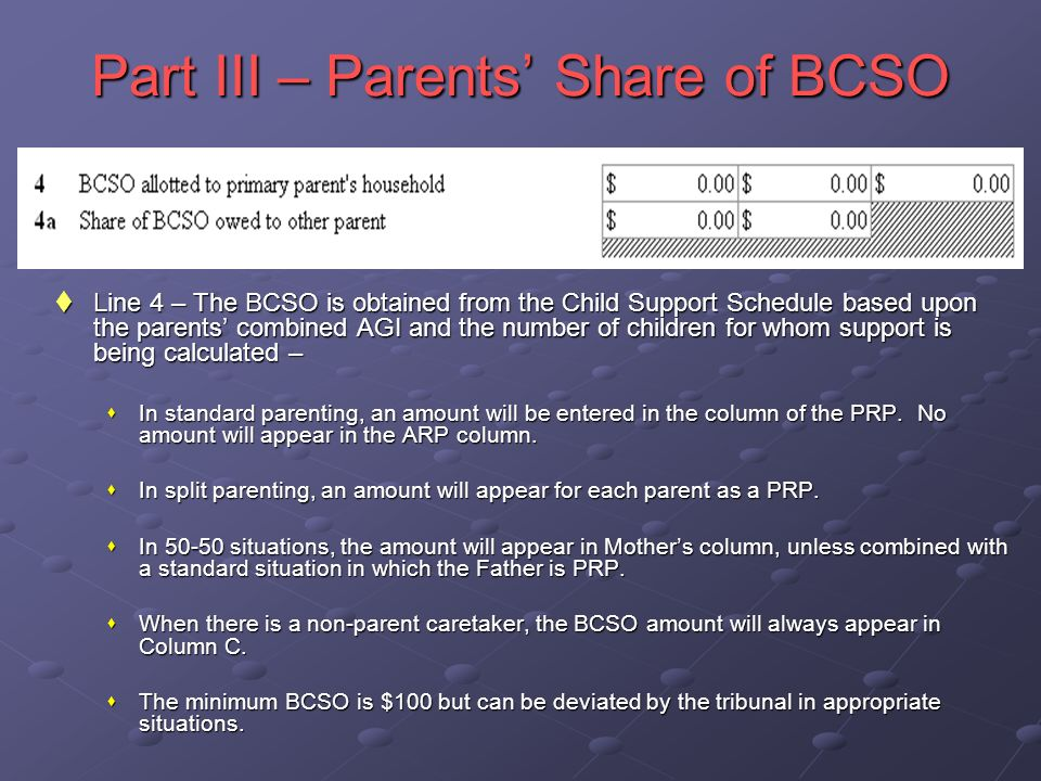 Part III – Parents Share of BCSO Line 4 – The BCSO is obtained from the Child Support Schedule based upon the parents combined AGI and the number of children for whom support is being calculated – Line 4 – The BCSO is obtained from the Child Support Schedule based upon the parents combined AGI and the number of children for whom support is being calculated – In standard parenting, an amount will be entered in the column of the PRP.