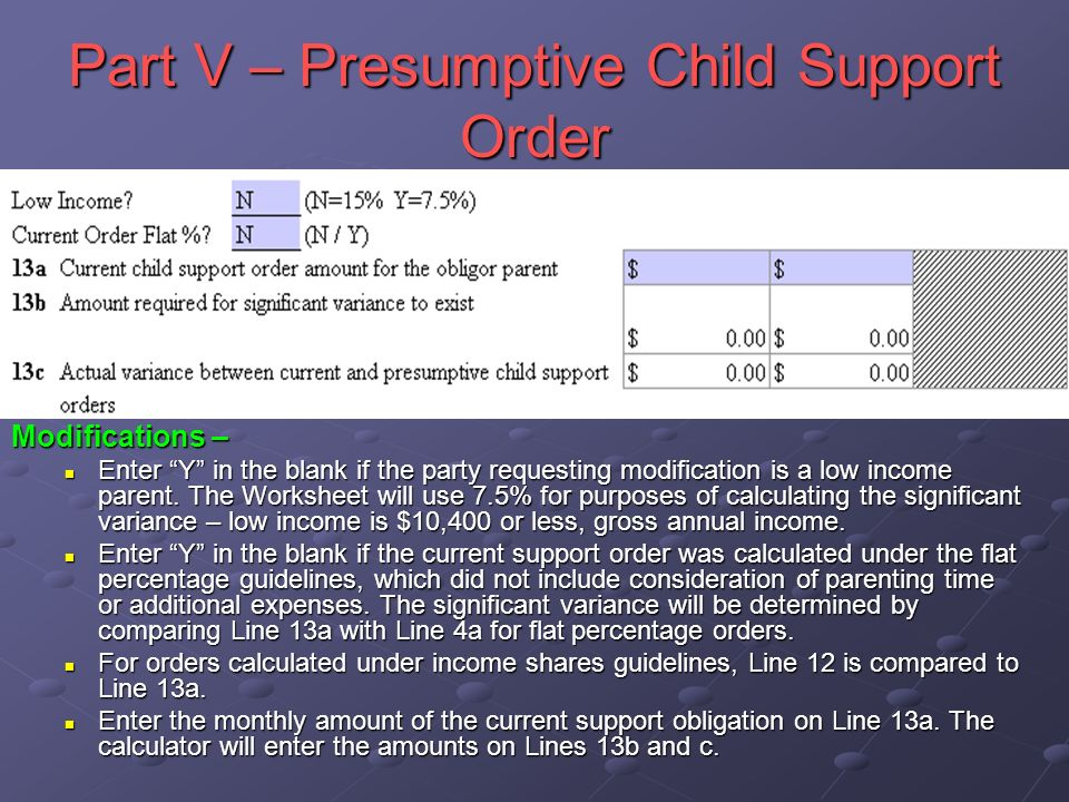 Part V – Presumptive Child Support Order Modifications – Enter Y in the blank if the party requesting modification is a low income parent.