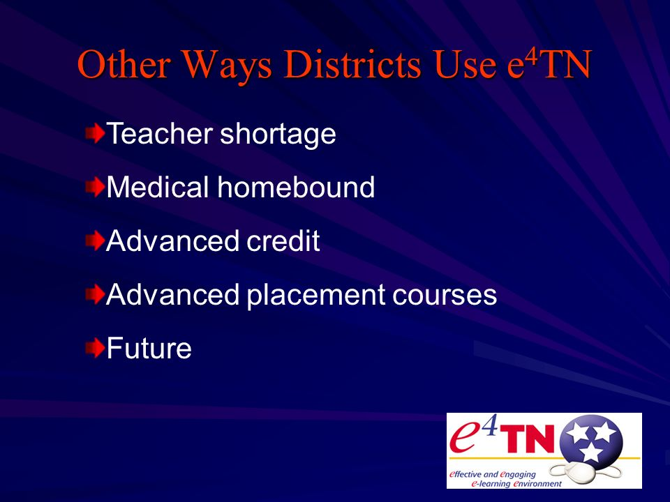 Other Ways Districts Use e 4 TN Teacher shortage Medical homebound Advanced credit Advanced placement courses Future