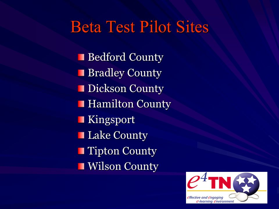 Beta Test Pilot Sites Bedford County Bradley County Dickson County Hamilton County Kingsport Lake County Tipton County Wilson County