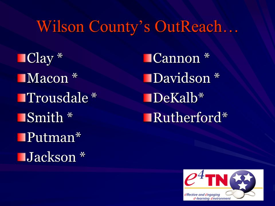 Wilson Countys OutReach… Clay * Macon * Trousdale * Smith * Putman* Jackson * Cannon * Davidson * DeKalb*Rutherford*