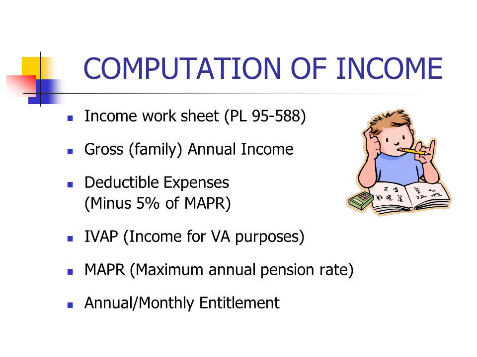 COMPUTATION OF INCOME Income work sheet (PL 95-588) Gross (family) Annual Income Deductible Expenses (Minus 5% of MAPR) IVAP (Income for VA purposes) MAPR (Maximum annual pension rate) Annual/Monthly Entitlement