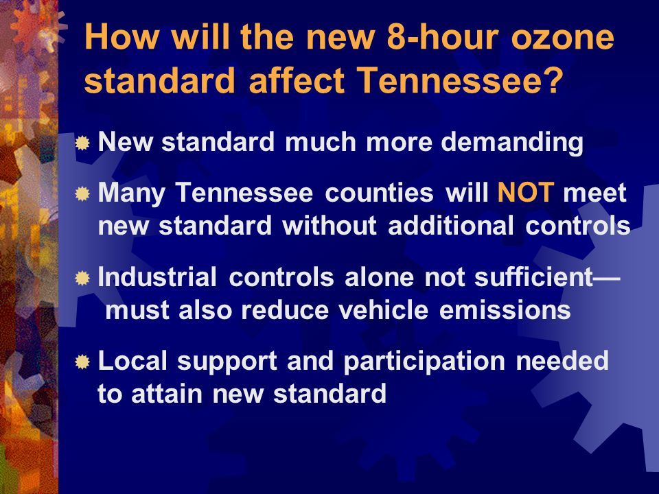 How will the new 8-hour ozone standard affect Tennessee.