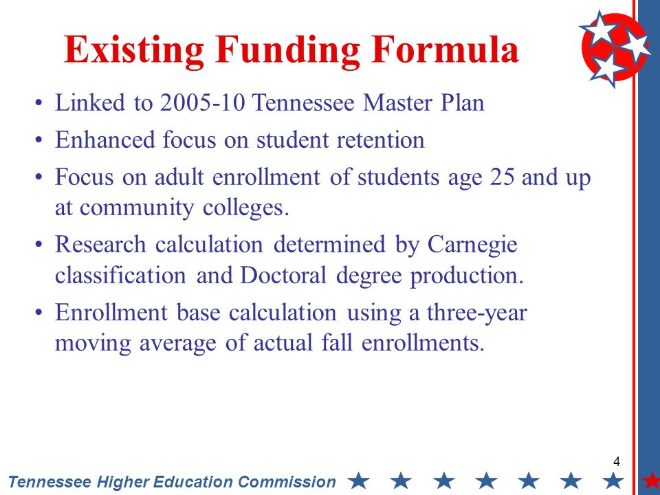 4 Tennessee Higher Education Commission Existing Funding Formula Linked to 2005-10 Tennessee Master Plan Enhanced focus on student retention Focus on adult enrollment of students age 25 and up at community colleges.
