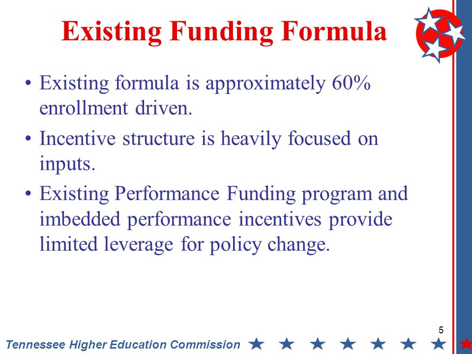 5 Tennessee Higher Education Commission Existing Funding Formula Existing formula is approximately 60% enrollment driven.