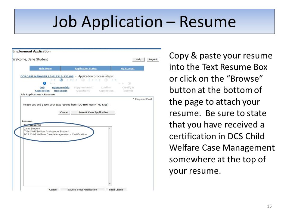 Job Application – Resume Copy & paste your resume into the Text Resume Box or click on the Browse button at the bottom of the page to attach your resume.