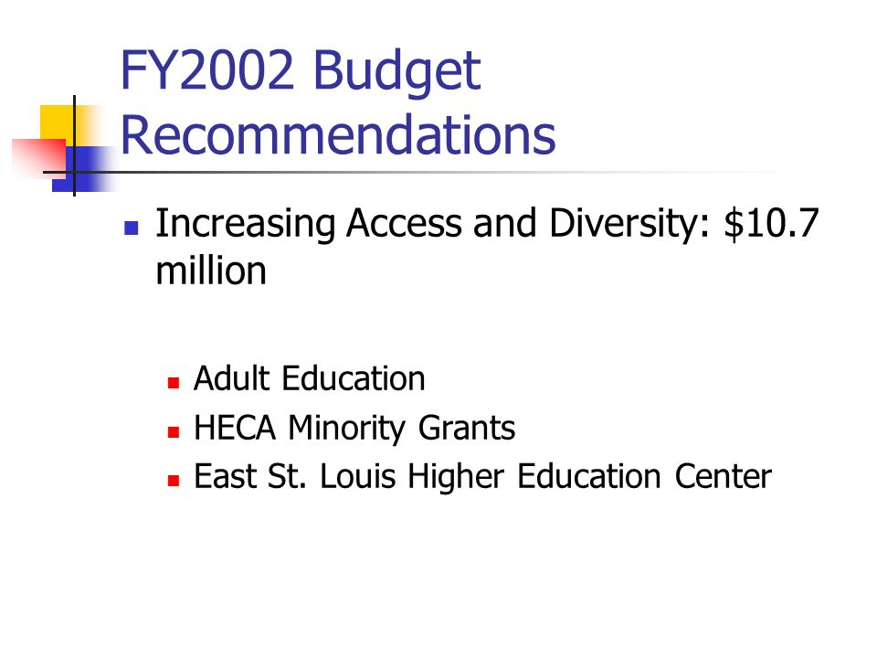 FY2002 Budget Recommendations Increasing Access and Diversity: $10.7 million Adult Education HECA Minority Grants East St.