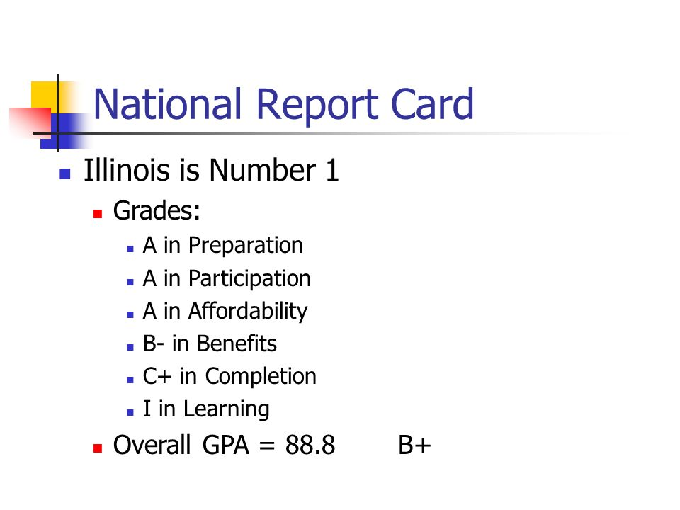 National Report Card Illinois is Number 1 Grades: A in Preparation A in Participation A in Affordability B- in Benefits C+ in Completion I in Learning Overall GPA = 88.8B+
