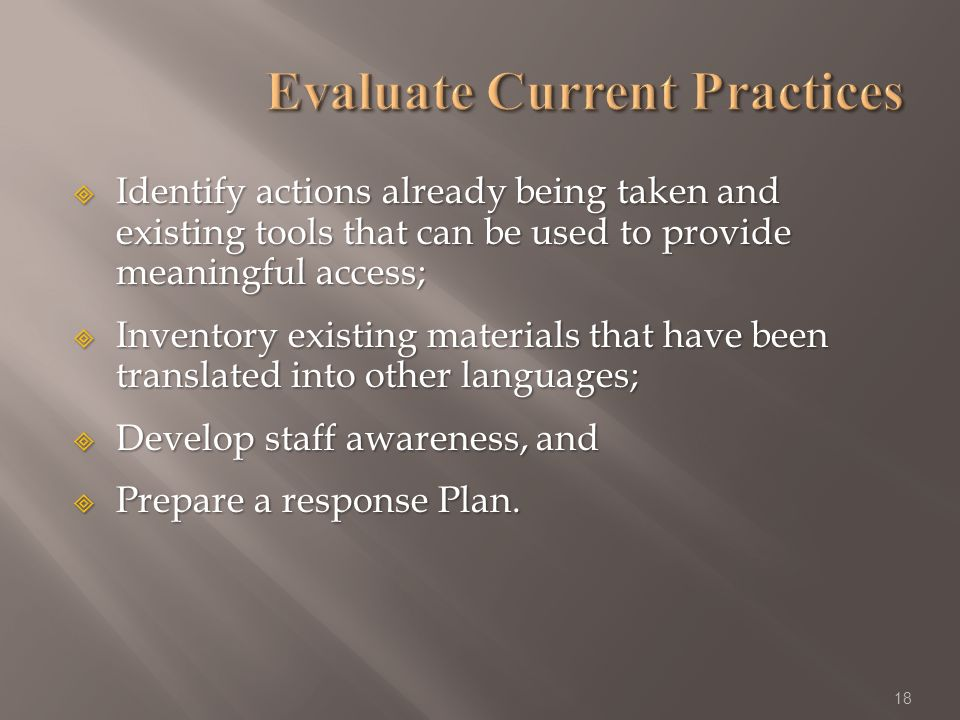 Identify actions already being taken and existing tools that can be used to provide meaningful access; Identify actions already being taken and existing tools that can be used to provide meaningful access; Inventory existing materials that have been translated into other languages; Inventory existing materials that have been translated into other languages; Develop staff awareness, and Develop staff awareness, and Prepare a response Plan.