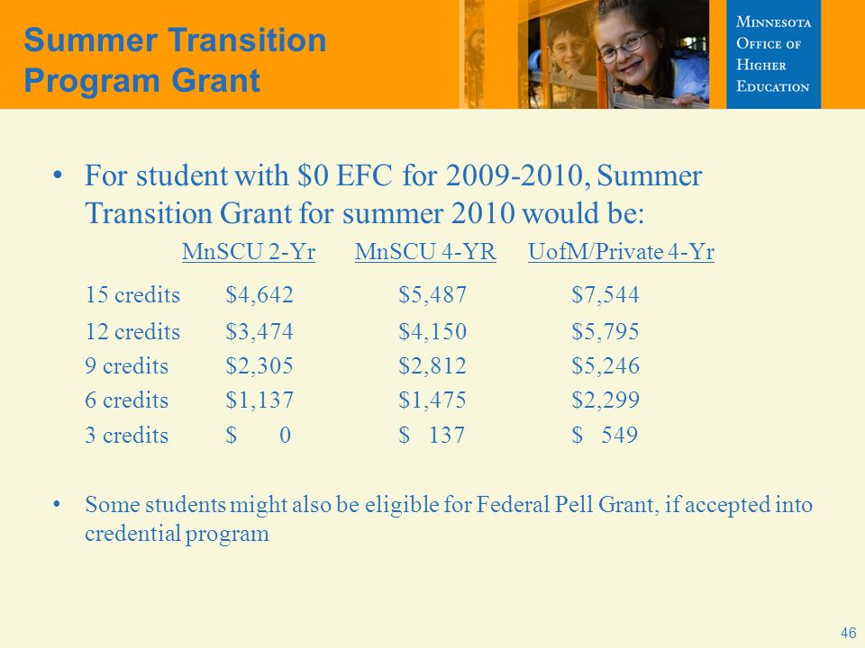 Summer Transition Program Grant For student with $0 EFC for 2009-2010, Summer Transition Grant for summer 2010 would be: MnSCU 2-YrMnSCU 4-YRUofM/Private 4-Yr 15 credits$4,642$5,487$7,544 12 credits$3,474$4,150$5,795 9 credits$2,305$2,812$5,246 6 credits$1,137$1,475$2,299 3 credits $ 0$ 137$ 549 Some students might also be eligible for Federal Pell Grant, if accepted into credential program 46