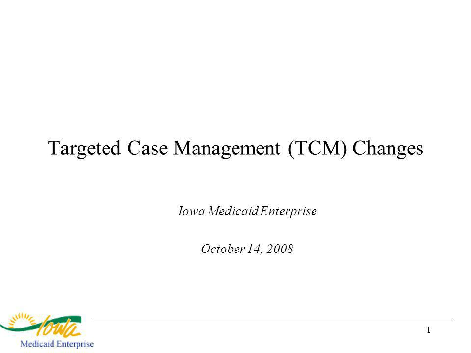 1 Targeted Case Management (TCM) Changes Iowa Medicaid Enterprise October 14, 2008