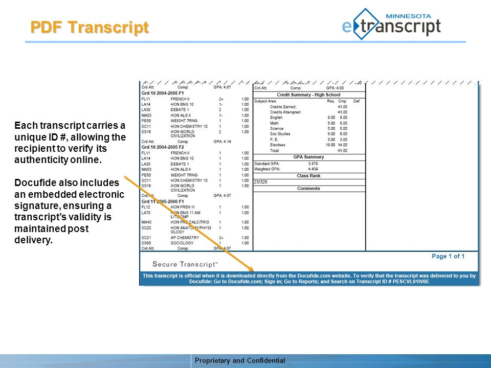 Proprietary and Confidential PDF Transcript Each transcript carries a unique ID #, allowing the recipient to verify its authenticity online.