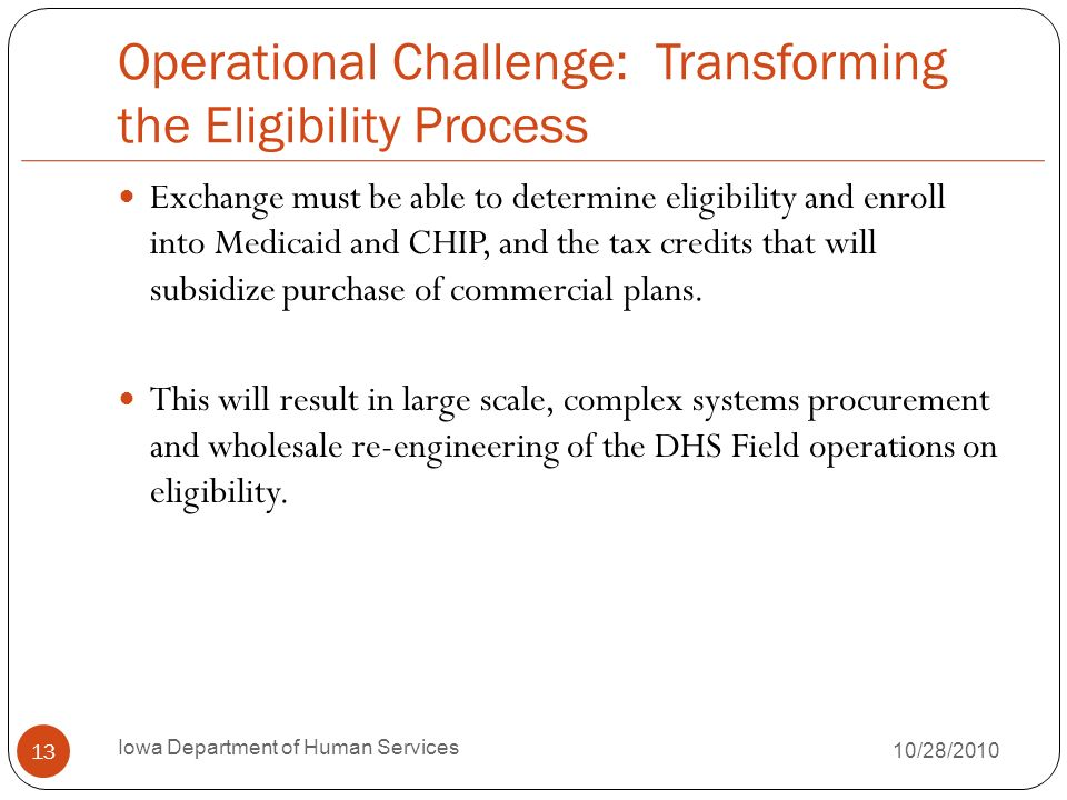 Operational Challenge: Transforming the Eligibility Process Exchange must be able to determine eligibility and enroll into Medicaid and CHIP, and the tax credits that will subsidize purchase of commercial plans.