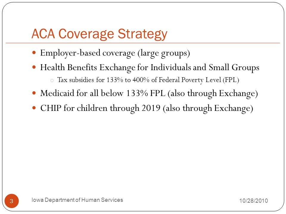 ACA Coverage Strategy Employer-based coverage (large groups) Health Benefits Exchange for Individuals and Small Groups o Tax subsidies for 133% to 400% of Federal Poverty Level (FPL) Medicaid for all below 133% FPL (also through Exchange) CHIP for children through 2019 (also through Exchange) 3 Iowa Department of Human Services 10/28/2010
