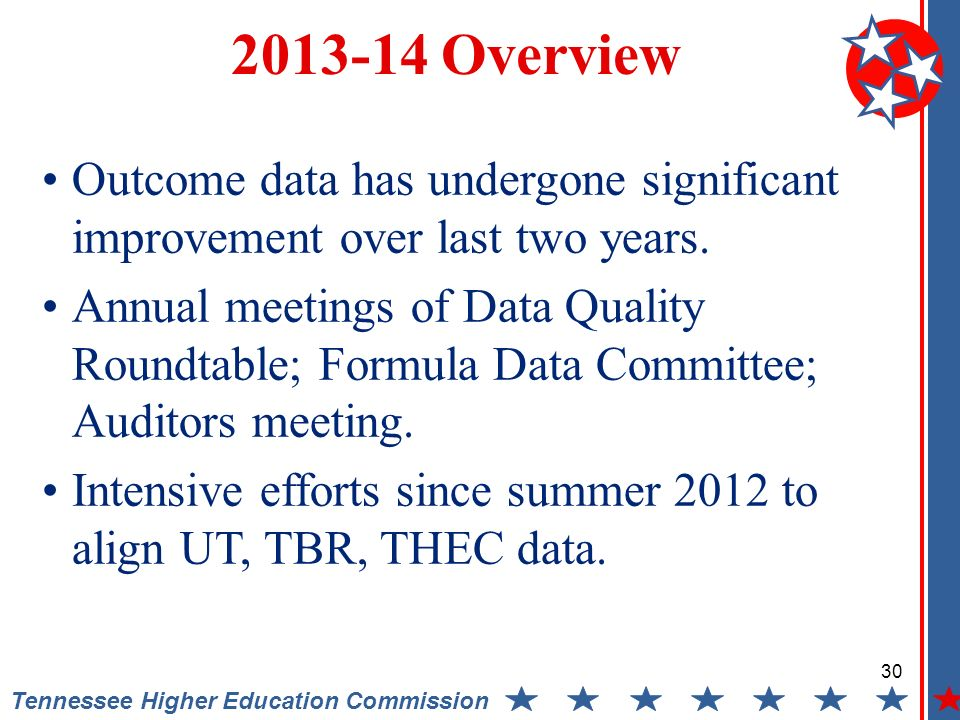 Tennessee Higher Education Commission Overview Outcome data has undergone significant improvement over last two years.