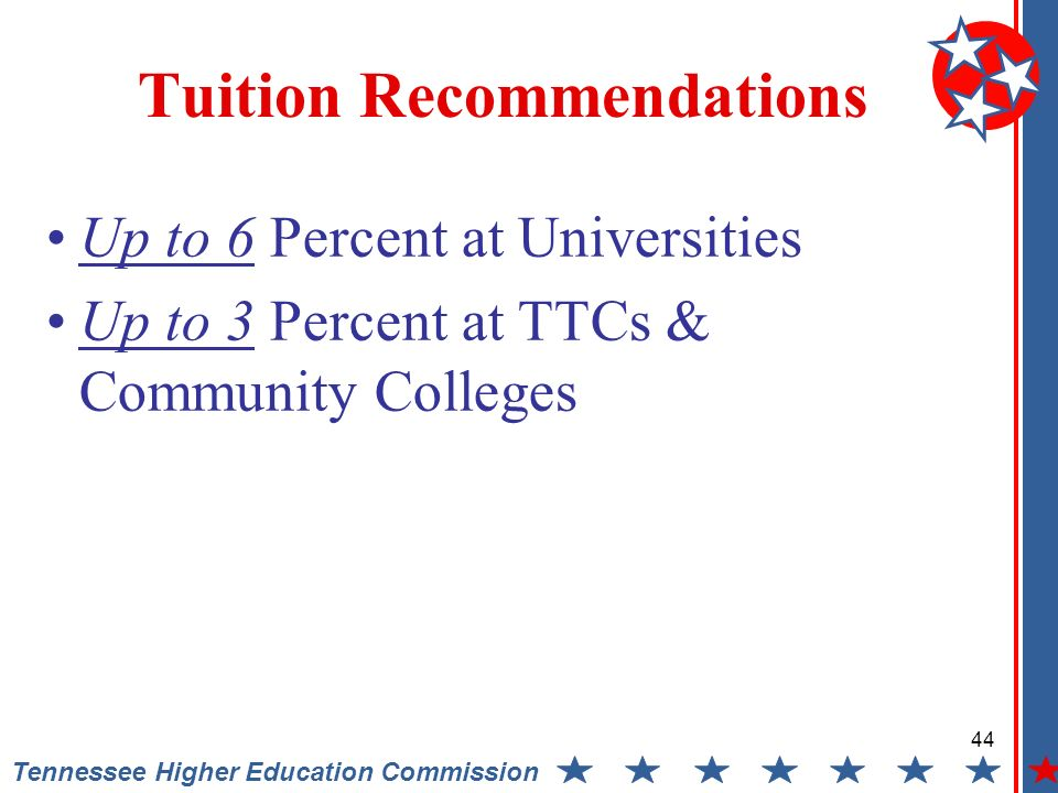 Tennessee Higher Education Commission Tuition Recommendations Up to 6 Percent at Universities Up to 3 Percent at TTCs & Community Colleges 44