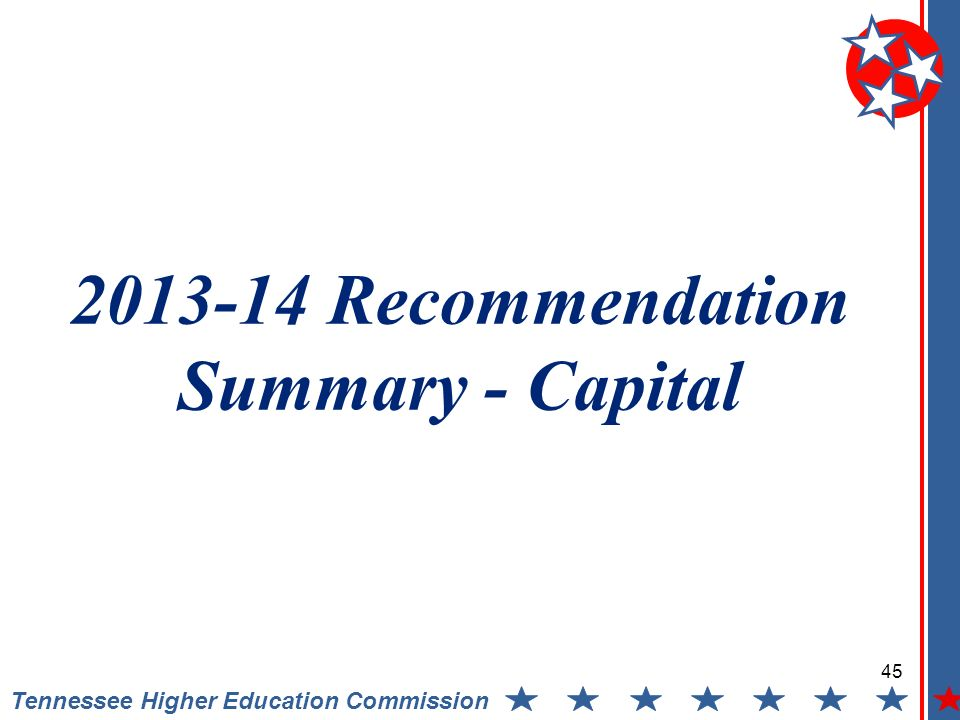 Tennessee Higher Education Commission Recommendation Summary - Capital 45