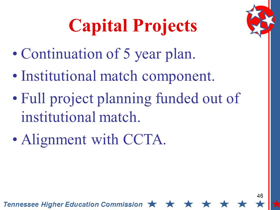 Tennessee Higher Education Commission Capital Projects Continuation of 5 year plan.