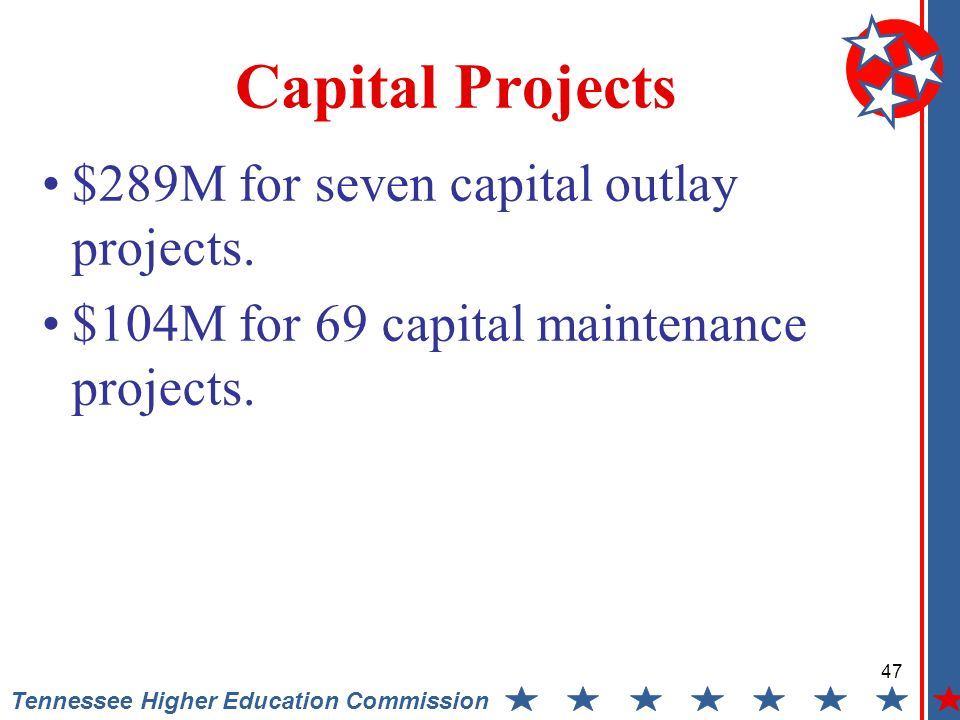 Tennessee Higher Education Commission Capital Projects $289M for seven capital outlay projects.