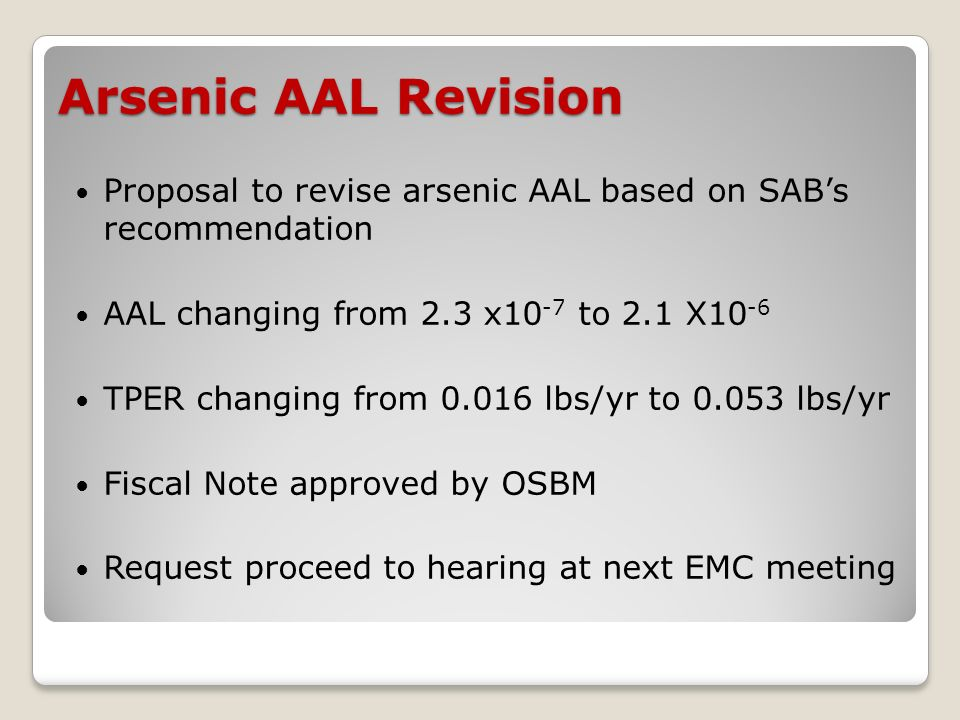 Arsenic AAL Revision Proposal to revise arsenic AAL based on SABs recommendation AAL changing from 2.3 x10 -7 to 2.1 X10 -6 TPER changing from 0.016 lbs/yr to 0.053 lbs/yr Fiscal Note approved by OSBM Request proceed to hearing at next EMC meeting
